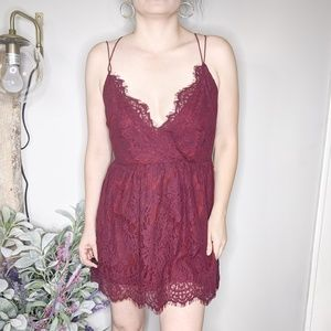TOBI maroon red eyelash lace skater dress 0104 NEW